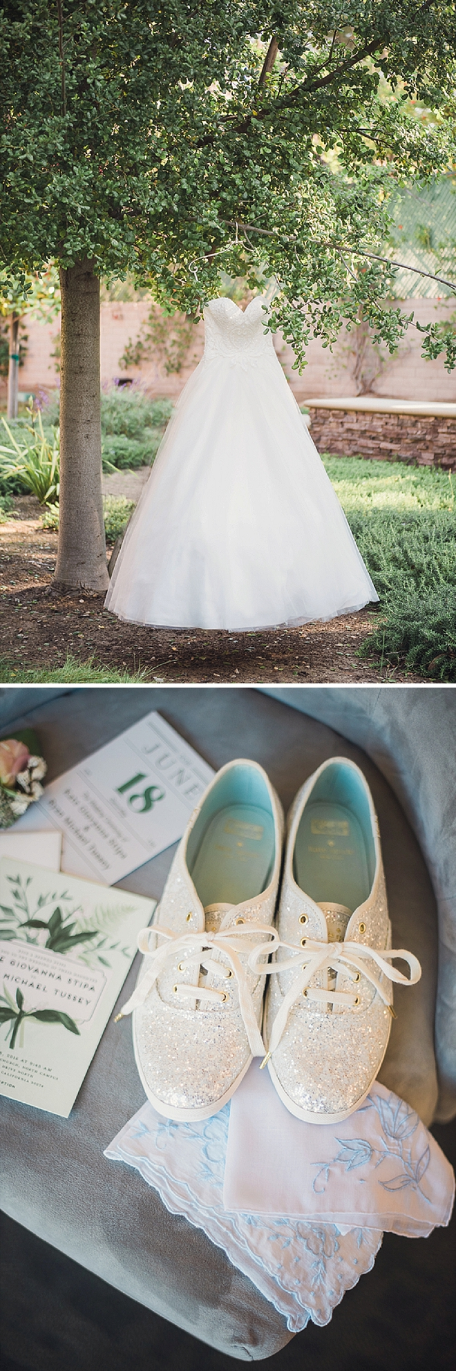 We love this Bride's style and her Kate Spade Keds wedding shoes!