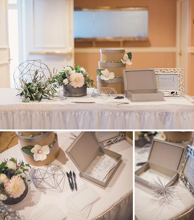 We love this couple's unique guest book idea and geometric details!