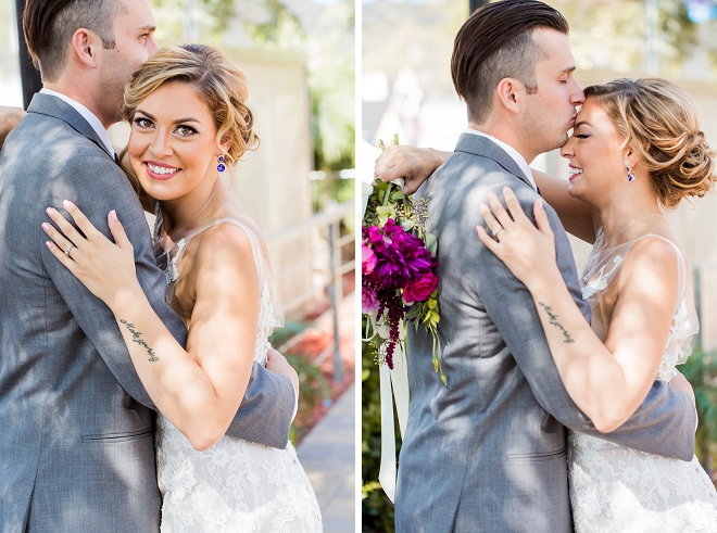 We love these sweet snaps of the Bride and Groom at their modern styled loft wedding!