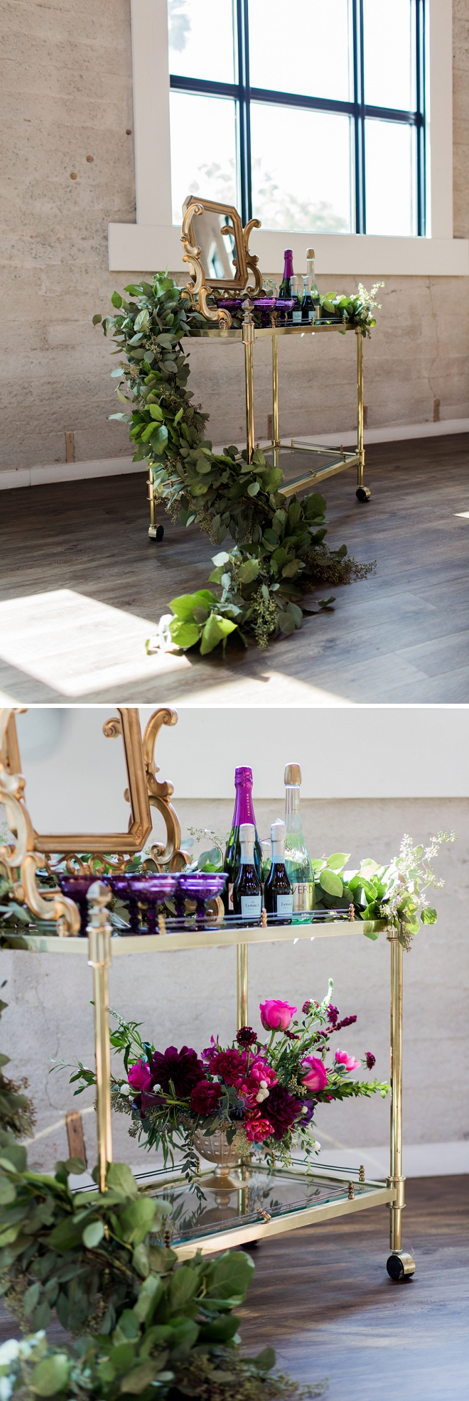 In love with this champagne bar cart perfect for this modern styled wedding!