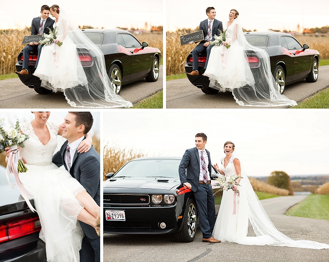 How fun is this couple and their styled shoot with her Groom's car?! Love it!