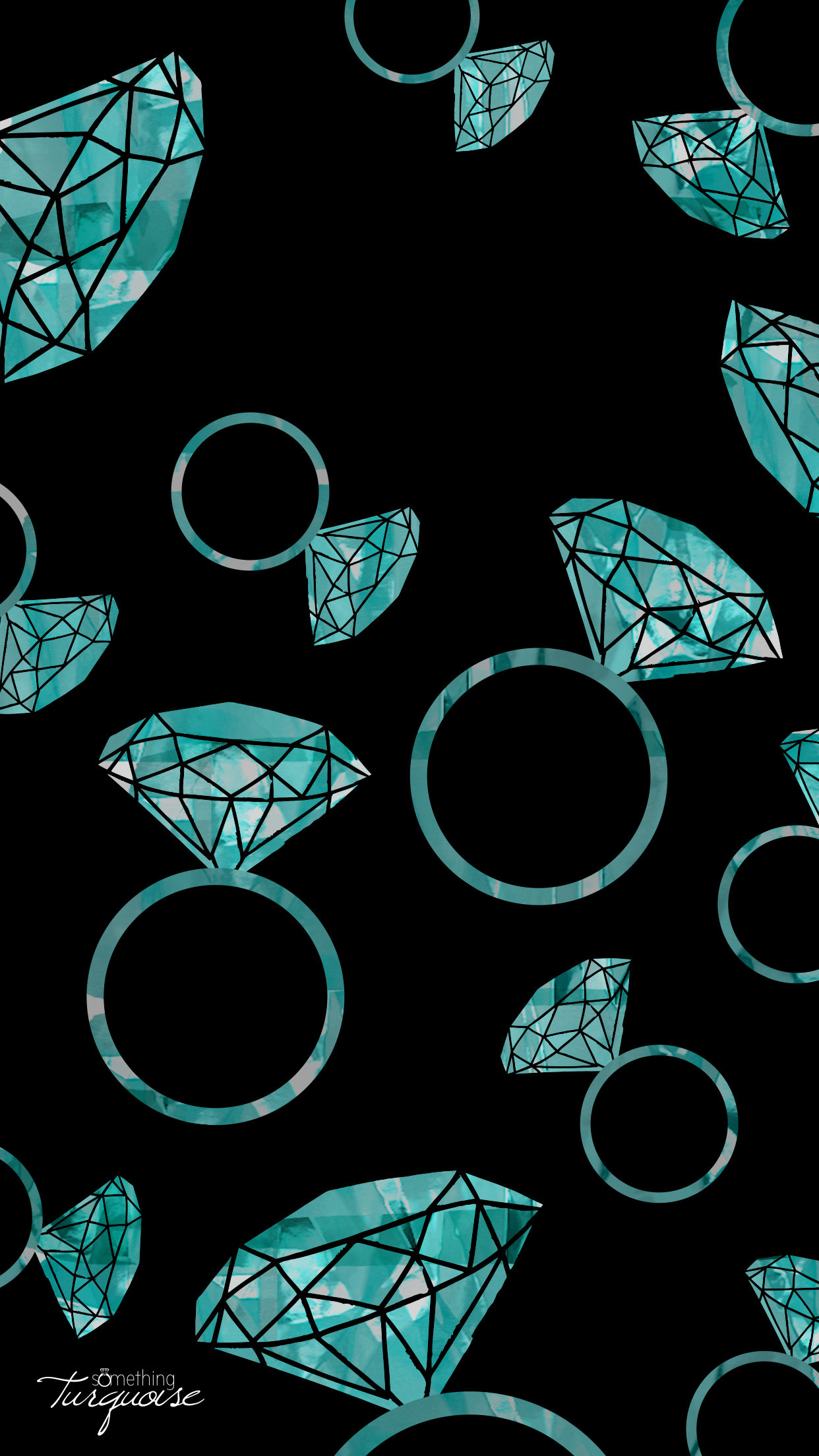 FREE turquoise diamond ring iPhone wallpaper!