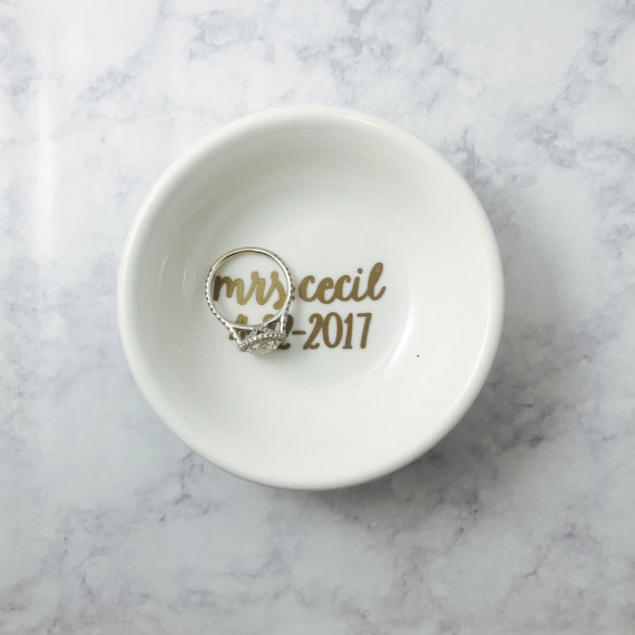 We love this Mrs ring dish featuring your wedding date!