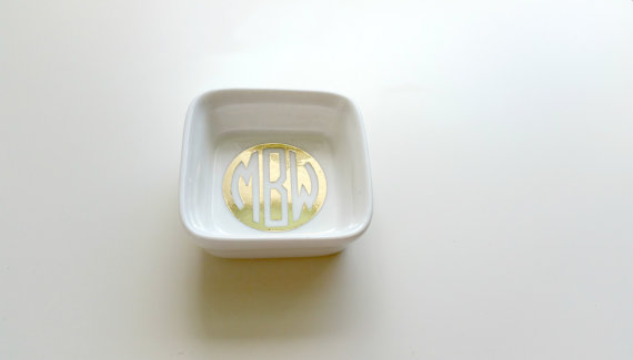 We love this monogram engagement ring dish! So cute!