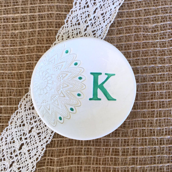 We love this turquoise initial engagement ring dish!