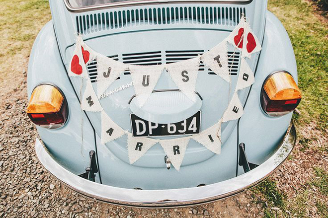 Charming bunting is an easy DIY for your getaway car.
