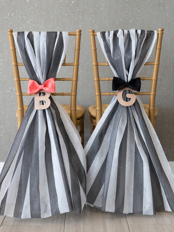 Super cute striped reception chair decor, easy to DIY!