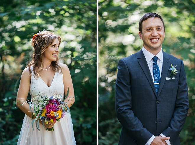 We love this darling Mr. and Mrs. and their stunning forest wedding!