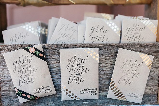 This couple created these darling seed packets as their wedding favors!