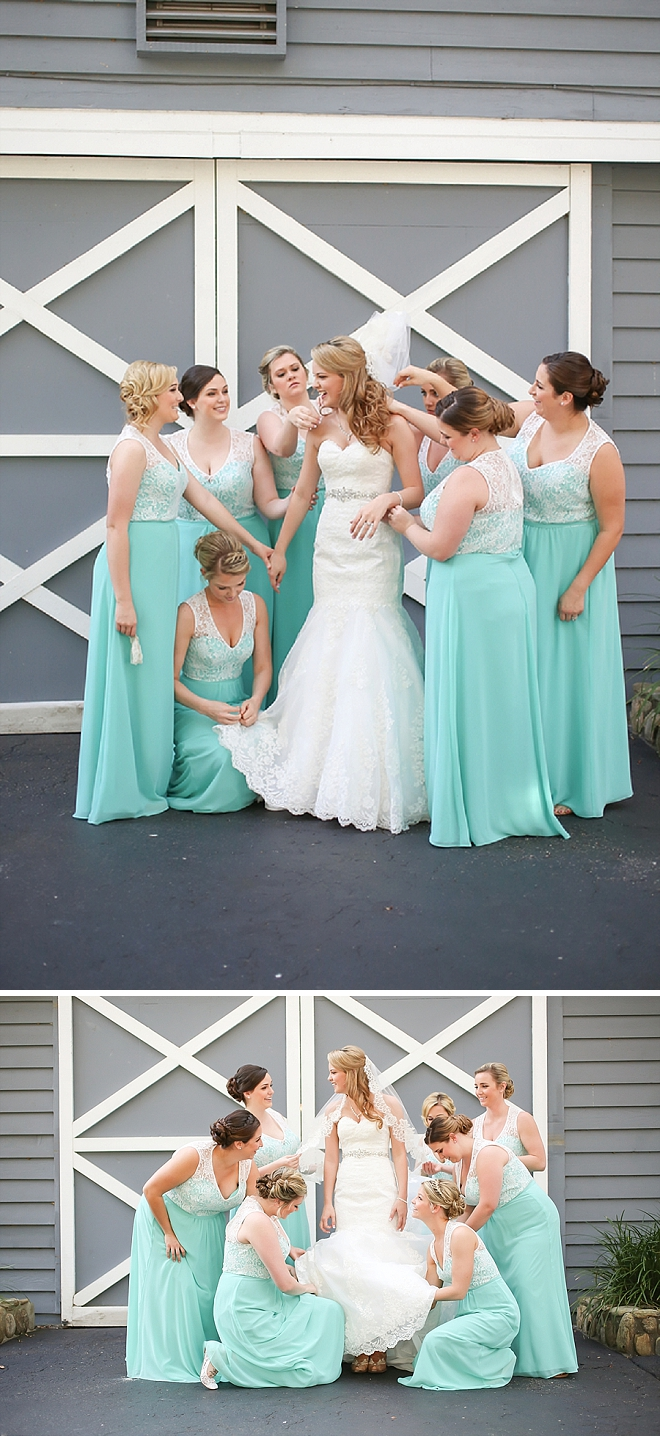 Sweet snap of the Bridesmaid's putting the finishing touches on the Bride!