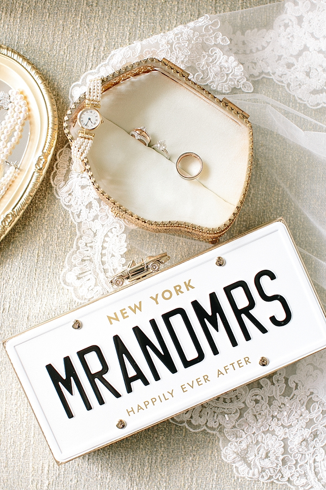 We are in LOVE with this Bride's Mr and Mrs clutch. So amazing!