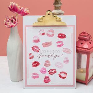 Free, printable Kiss The Miss Goodbye Guestbook!