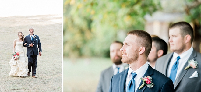 Such a sweet snap of the Groom watching his Bride walk down the aisle!