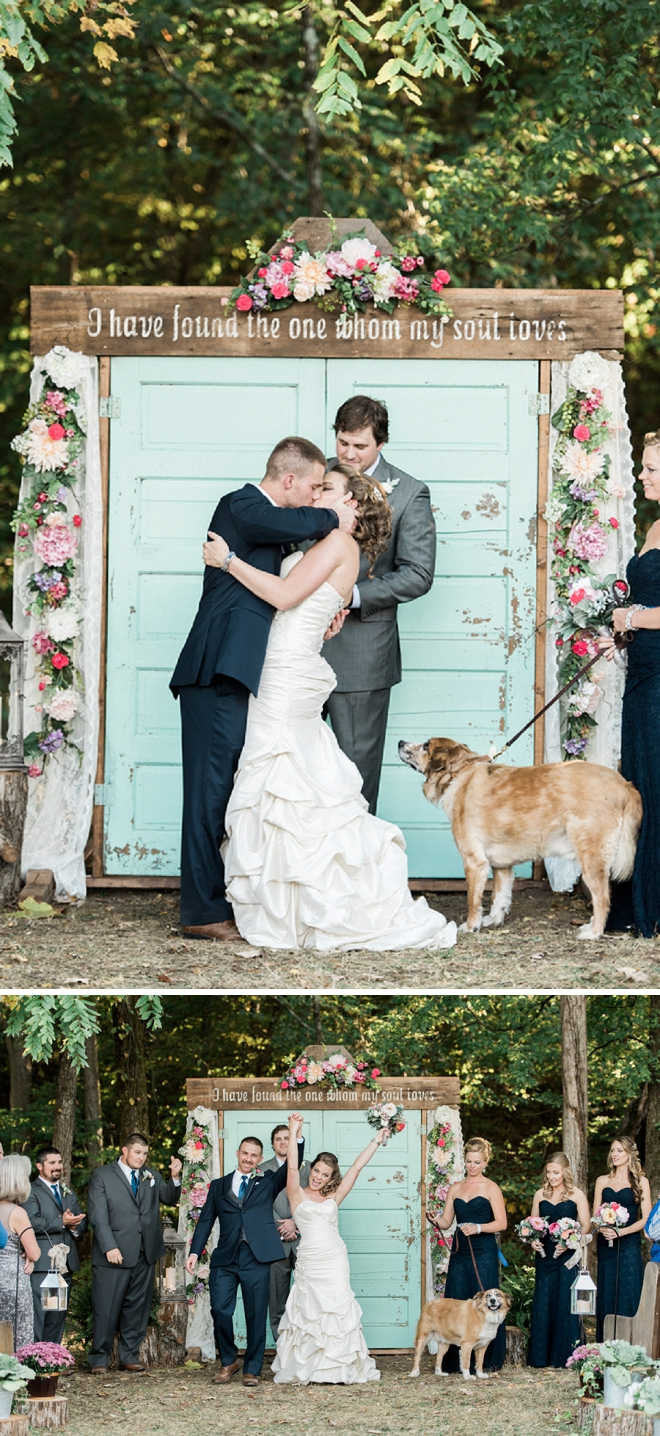 Love this snap of the couple sharing their first kiss as Mr. and Mrs!