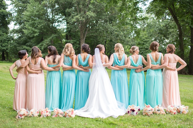 The gorgeous Bride and her turquoise Bridesmaid's!