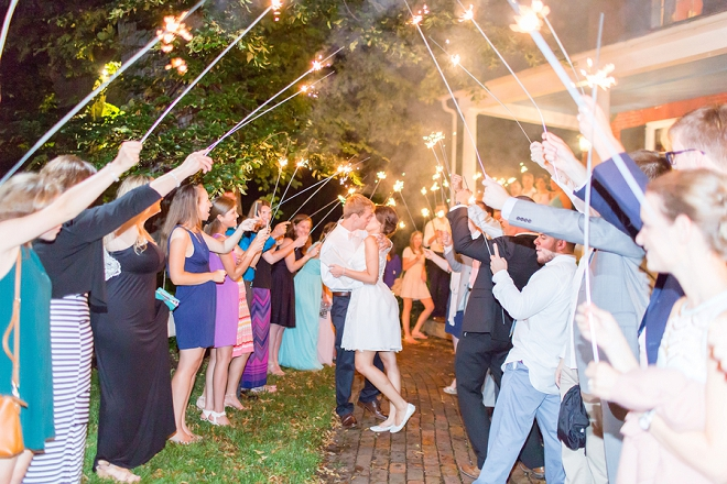A final kiss of their wedding day through their sparkler exit!