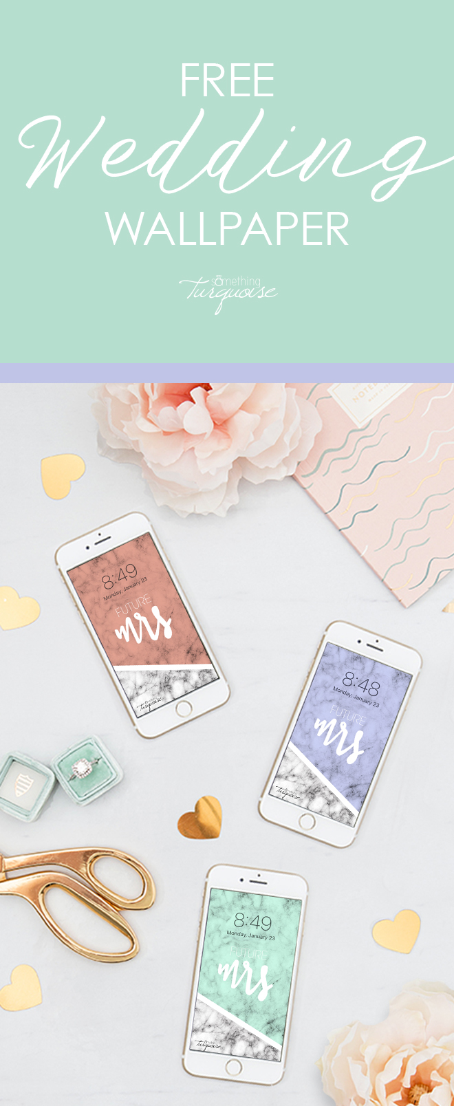 FREE pink, mint, and lavender Future Mrs iPhone wallpapers!