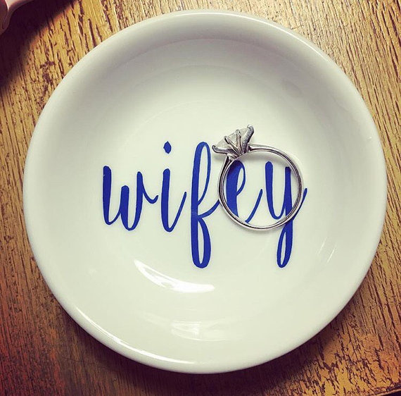 Just engaged? You NEED this darling Wifey ring dish!