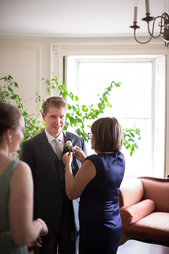 The handsome Groom getting ready for the first look!
