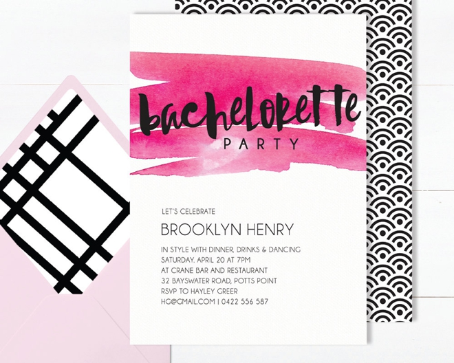Hot Pink Watercolor Bachelorette Invite by The Print Nest