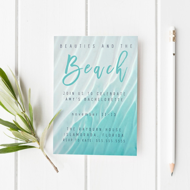 Beach Bachelorette Party Invite by Prim + Pretty Prints