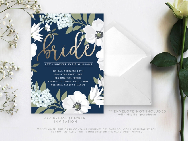 Our top 20 swoon worthy wedding invitations from etsy 5 bridal shower invitations stopboris Images