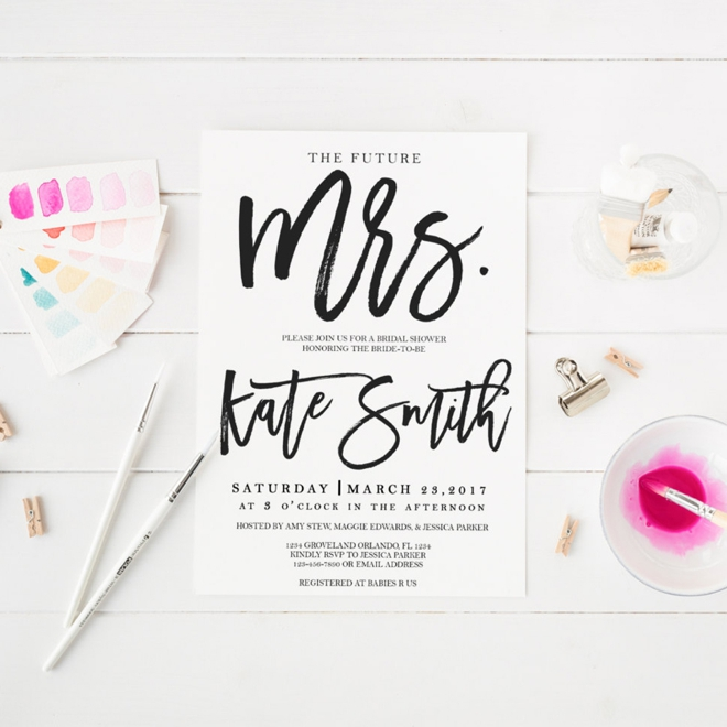 Printable Black and White Bridal Shower Invitation by Wishful Printing