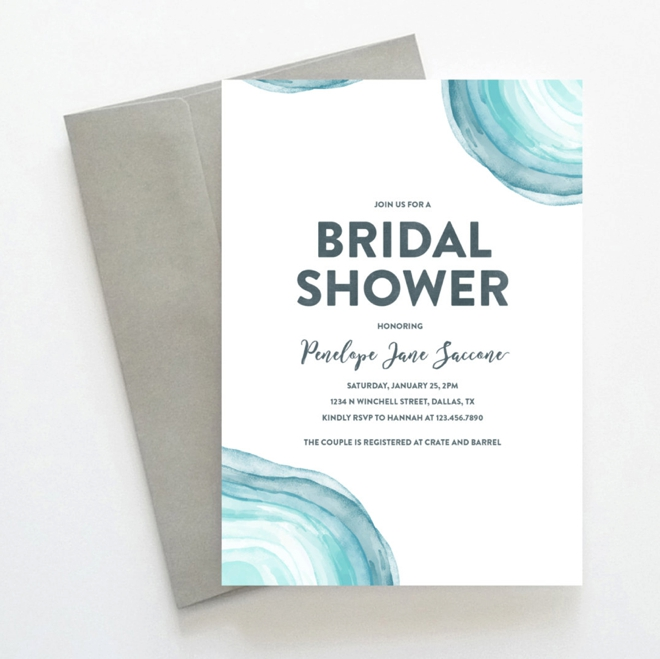 Printable Modern Turquoise Bridal Shower Invitation by Oak House Designs