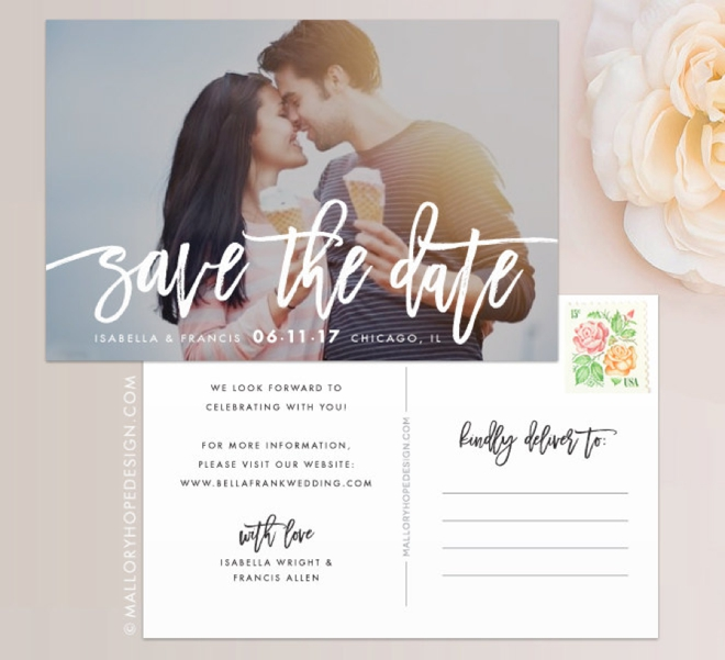 Handwritten Photo Save The Date Post Card by Mallory Hope Design