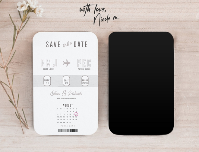 Destination Save The Date Boarding Pass Magnet by Your Wedding Countdown