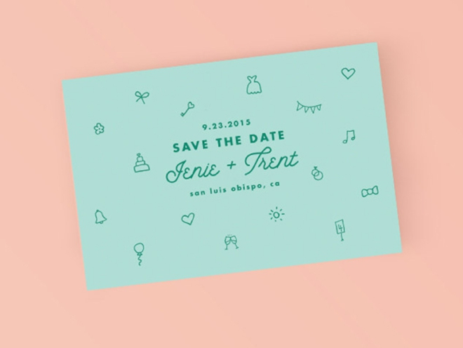 Printable Simple Icon Save the Date Card by Bold Paper Co.