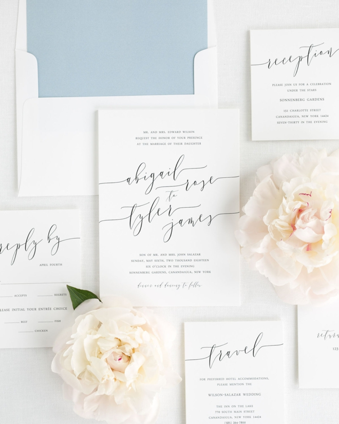 Romantic Calligraphy Wedding Invitations by Shine Invitations