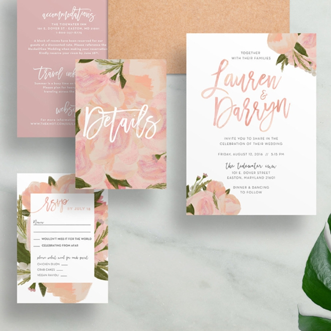 Hand Painted Floral Wedding Invitations by Dunkirk Designs