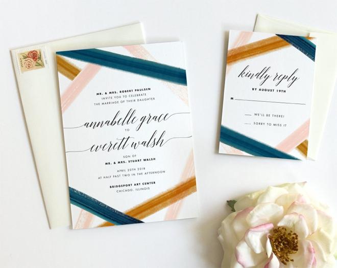 Modern Watercolor Wedding Invitations by Fine Day Press