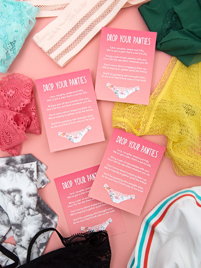 5a430b79b09 Learn how to make this Drop Your Panties bridal shower game with free  printable cards!