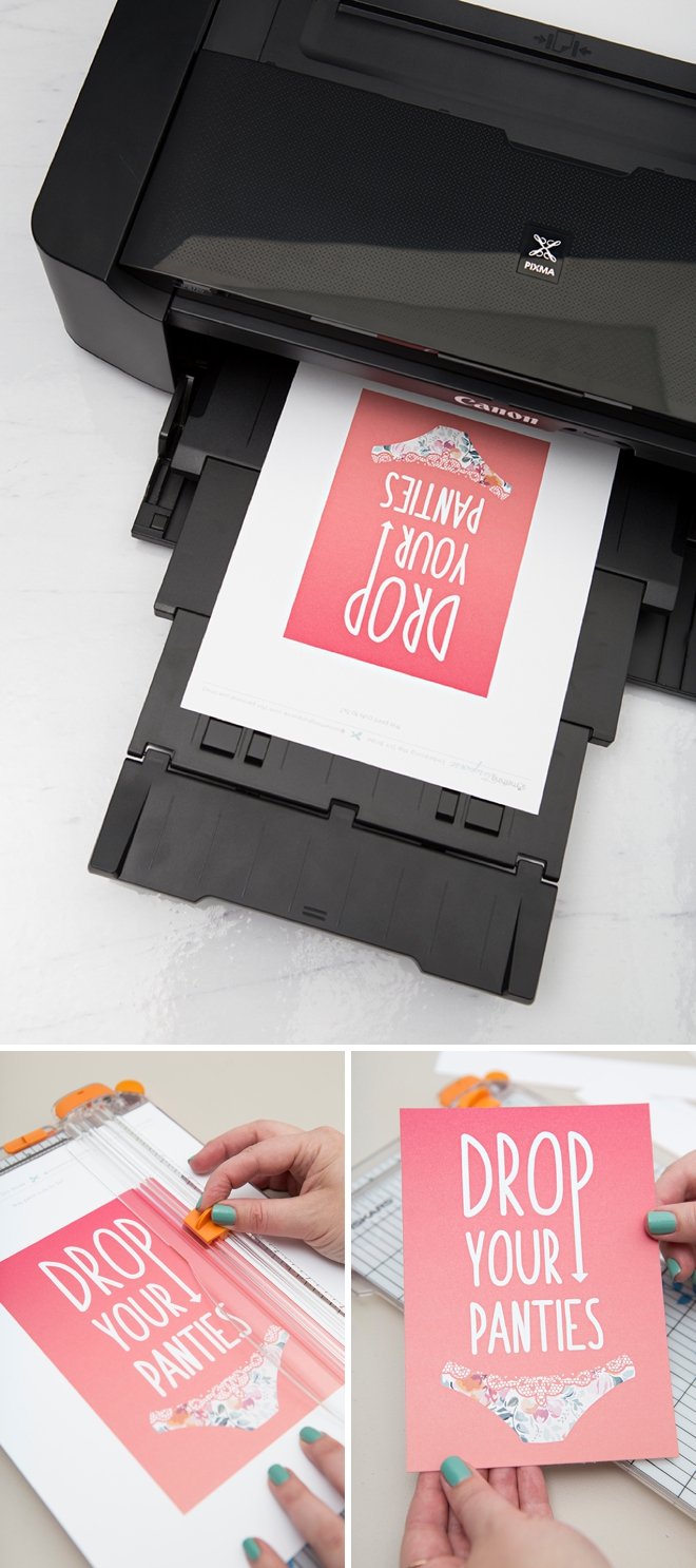 Check out this DIY Drop Your Panties game, with free printable sign and cards!