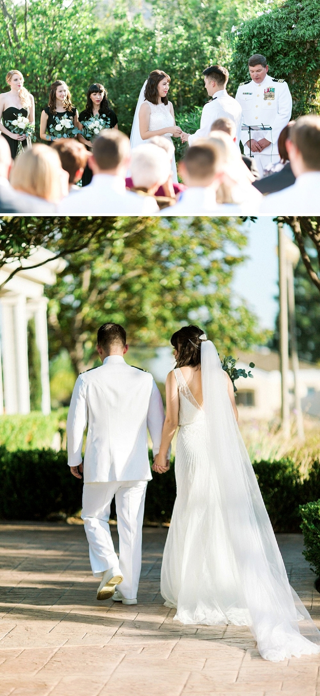 Super sweet snap of this Bride and Groom at their ceremony!