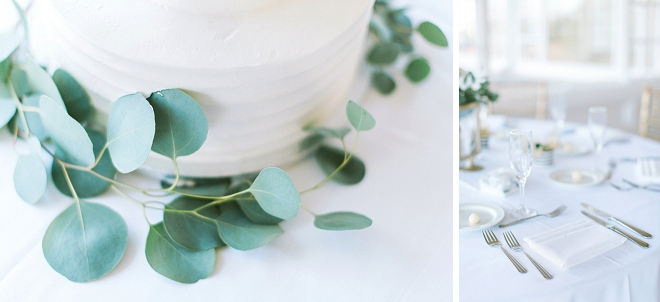 We're in LOVE with this gorgeous modern white and eucalyptus wedding cake!