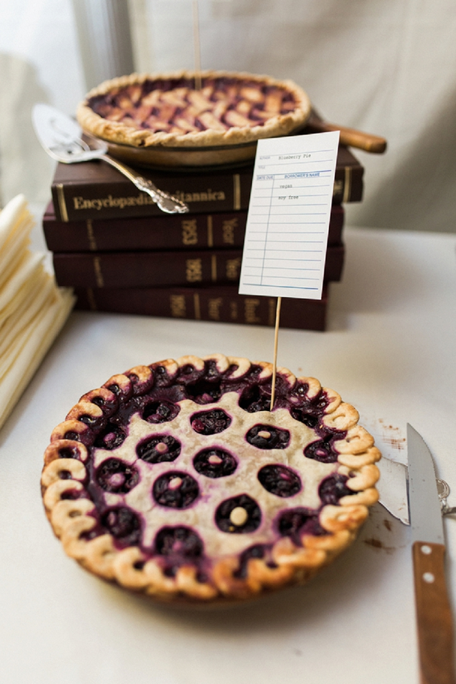 This couple handmade pies for their pie dessert bar!