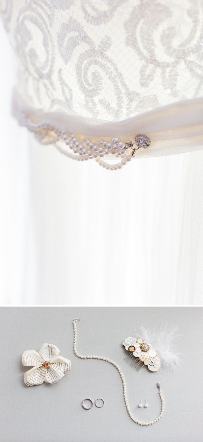 We're loving this Bride's dainty wedding day details and dress!