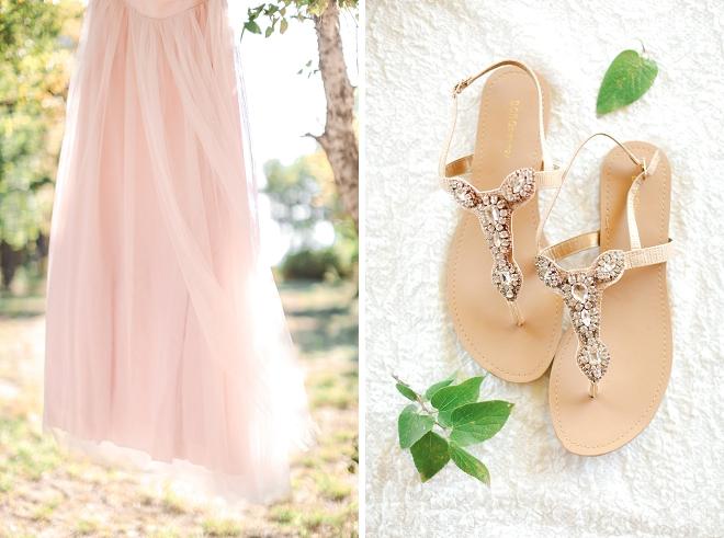We're LOVING this Bride's blush toned wedding dress!