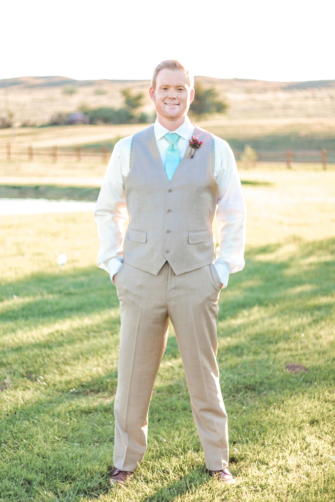 The handsome Groom before the backyard ceremony!