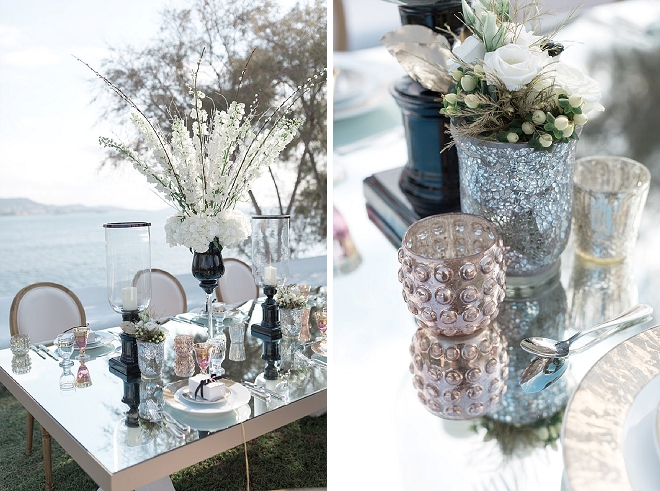 How stunning is this mirrored table and metallic accents table scape?! LOVE!