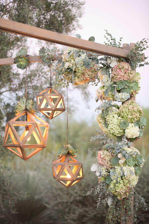 These geometric lights are so sweet! I'd like to hang them from all the trees for our backyard wedding.
