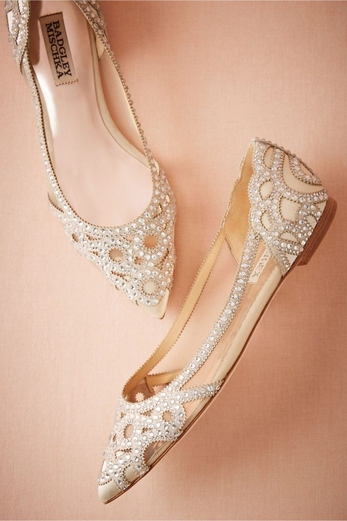 Christianne Flats, Badgley Mischka. Perfect wedding flats with sparkle!