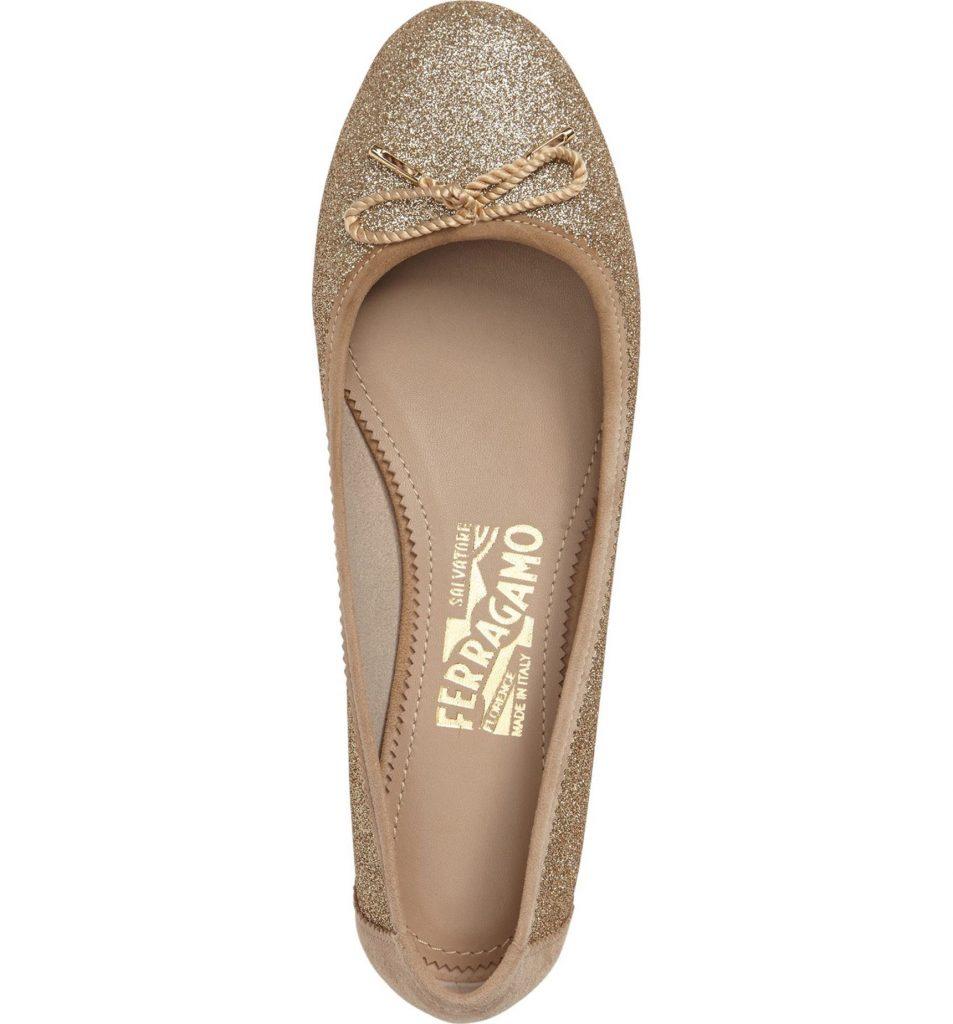 Pretty gold flats! Enea Ballet Flat SALVATORE FERRAGAMO.