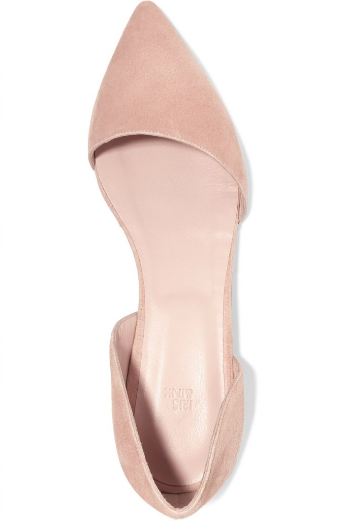 These pink d'orsay suede flats are so adorable.  Possible wedding shoes? #wedding