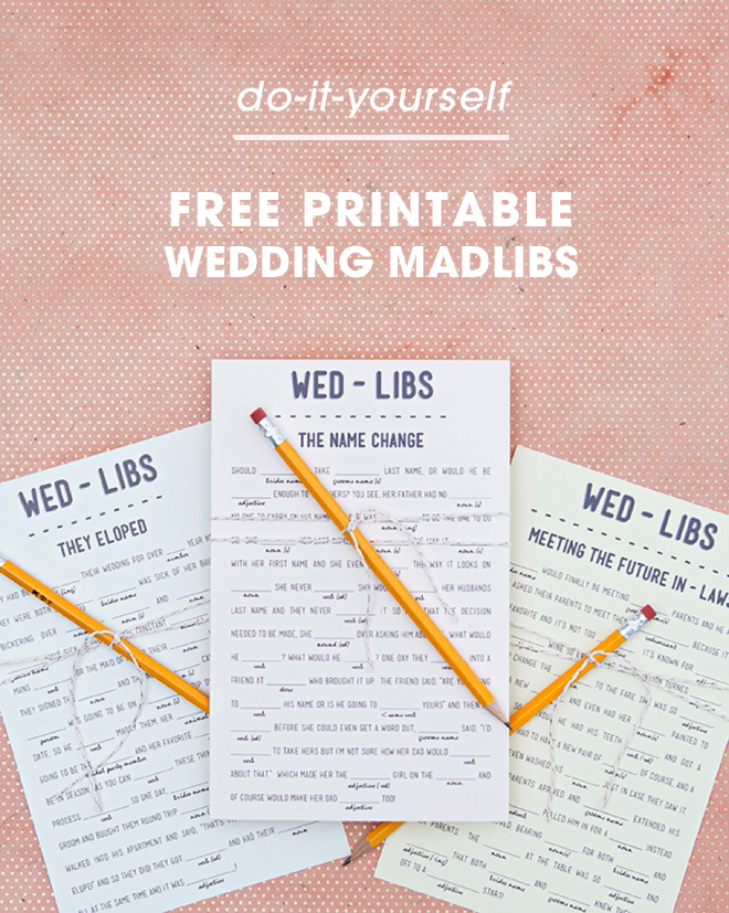 picture relating to Printable Wedding Mad Libs identified as Print Our Amusing Marriage Outrageous-libs For No cost, 12 Themes!