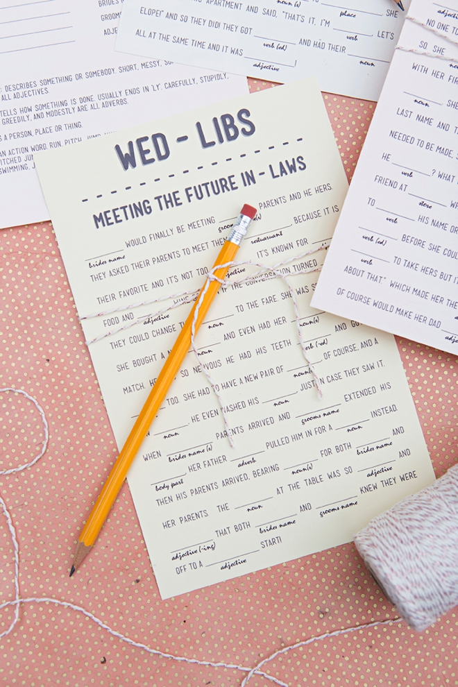 graphic about Funny Wedding Mad Libs Printable named Print Our Humorous Wedding ceremony Insane-libs For Cost-free, 12 Themes!