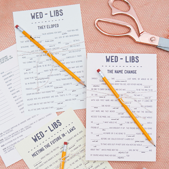 picture about Printable Mad Libs Sheets for Adults titled Print Our Humorous Wedding ceremony Insane-libs For Cost-free, 12 Themes!